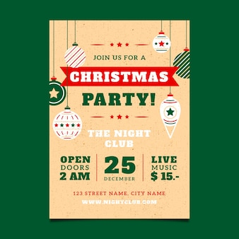 Vintage template christmas party poster