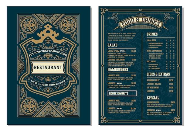 레스토랑 메뉴 디자인을위한 빈티지 템플릿입니다. 계층.