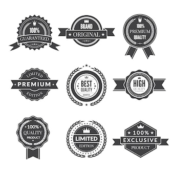 Vintage template of monochrome premium labels for guarantee bestseller and others.