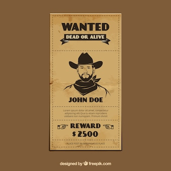 Vintage template of wanted poster