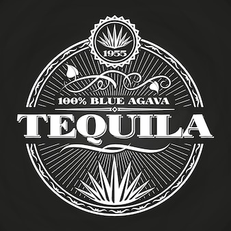 Vintage tequila banner design on chalkboard