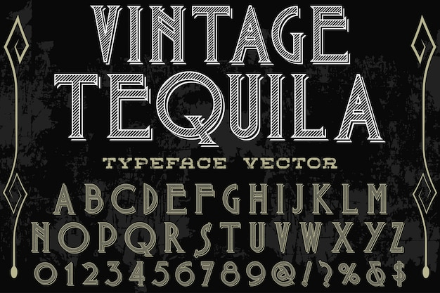 Vintage tequlia alphabet label design