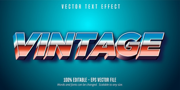 Vintage text, 80's style editable text effect