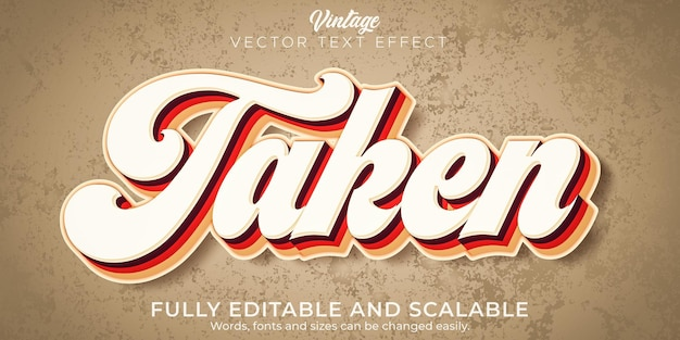 Vintage text effect editable retro and old text style