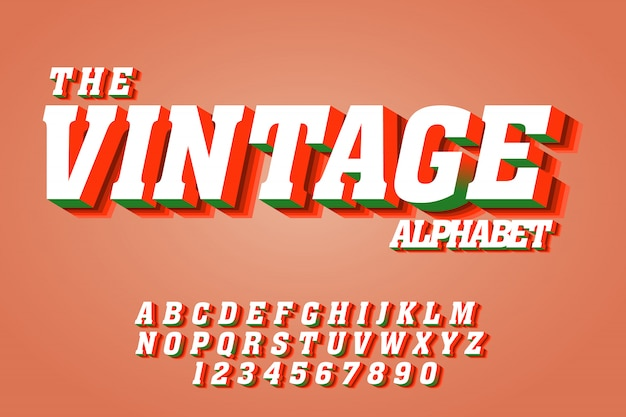 Vintage text font effects on 3d