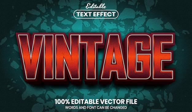 ヴィンテージテキスト、フォントスタイルの編集可能なテキスト効果