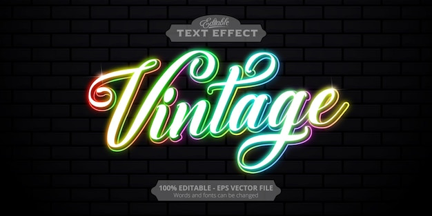 Vintage text, neon style editable text effect