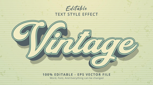 Vintage text on vintage color style, editable text effect