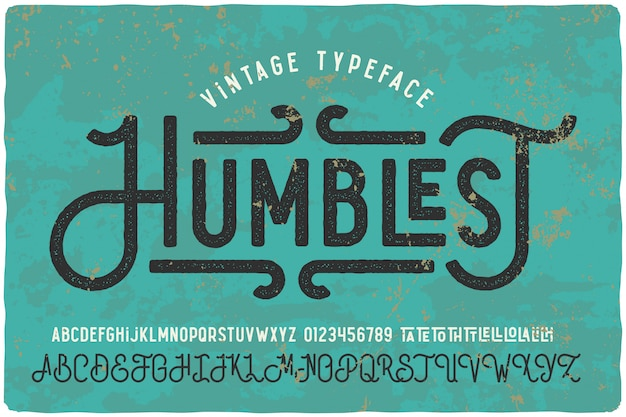 Vintage textured font set