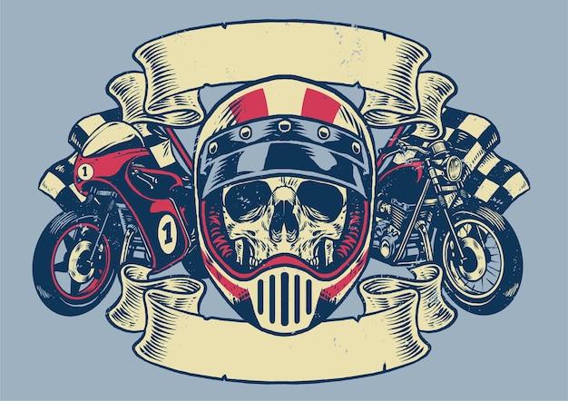 ヴィンテージの質感のオートバイのtシャツのデザイン