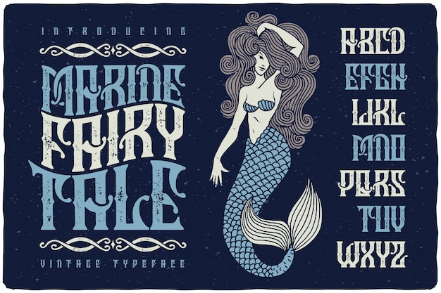 Vintage textured typeface with mermaid illustration