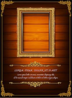 Vintage thai art of photo frame on drake wooden background