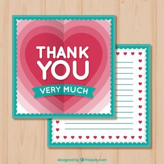 평면 디자인의 빈티지 감사 카드