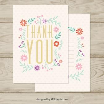 ヴィンテージ、小さな花のカードありがとう