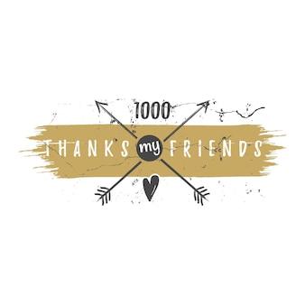 빈티지 감사합니다 수채화, 잉크 스플래시 배지. 소셜 미디어 추종자는 스티커를 붙이고 좋아합니다. 힙스터 요소-화살표, 심장이 있는 필기체 레터링. 디자인, 골드 글리터, 골든 팔레트