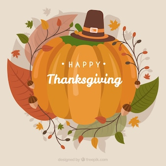 Vintage thanksgiving background with pumpkin
