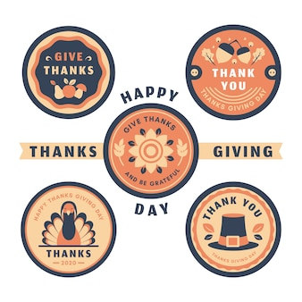 Vintage thanksgiving badge collection concept