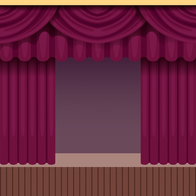Vintage theater scene background with purple curtain. wooden stage with velvet drapery and pelmets. colorful interior frame.  illustration.