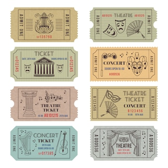 Старинные билеты в театр или кино с разными монохромными символами балета или оперы