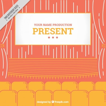 Vintage theatre in orange and yellow colors
