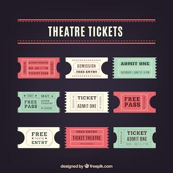 Vintage theatre tickets in flat design