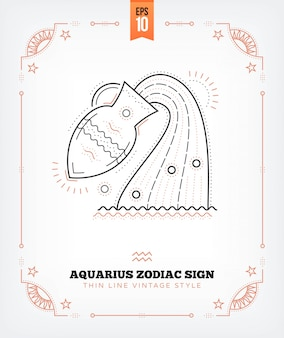 Vintage thin line aquarius zodiac sign label. retro astrological symbol, mystic, sacred geometry element, emblem, logo. stroke outline illustration. isolated on white