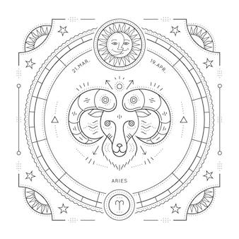Винтаж тонкая линия этикетка знак зодиака овен. ретро астрологический символ, мистик, элемент сакральной геометрии, эмблема, логотип. инсульт наброски иллюстрации. на белом фоне.