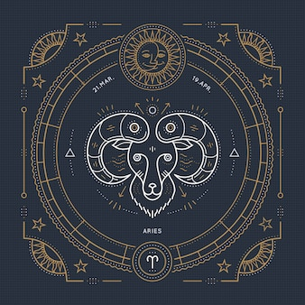 빈티지 얇은 라인 양자리 조디악 로그인 레이블. 레트로 점성술 기호, 신비주의, 신성한 기하학 요소, 상징, 로고. 스트로크 개요 그림.