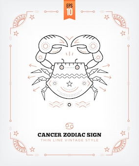 Vintage thin line cancer zodiac sign label. retro astrological symbol, mystic, sacred geometry element, emblem, logo. stroke outline illustration. isolated on white