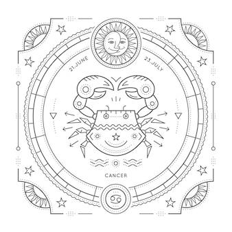 Винтаж тонкая линия этикетка знак зодиака рак. ретро астрологический символ, мистик, элемент сакральной геометрии, эмблема, логотип. инсульт наброски иллюстрации. на белом фоне.