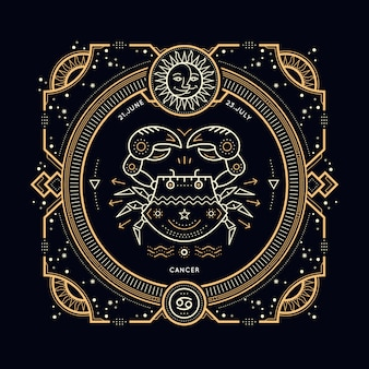 ヴィンテージ細い線がん干支標識ラベル。レトロな占星術のシンボル、神秘的な神聖な幾何学要素、エンブレム、ロゴ。ストロークの概要図。