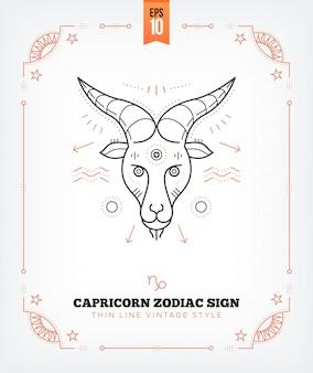ヴィンテージ細い線山羊座干支記号ラベル。レトロな占星術のシンボル、神秘的な神聖な幾何学要素、エンブレム、ロゴ。ストロークの概要図。白で隔離