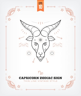 Vintage thin line capricorn zodiac sign label. retro astrological symbol, mystic, sacred geometry element, emblem, logo. stroke outline illustration. isolated on white