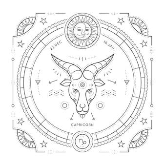 ヴィンテージ細い線山羊座干支記号ラベル。レトロな占星術のシンボル、神秘的な神聖な幾何学要素、エンブレム、ロゴ。ストロークの概要図。白い背景の上。