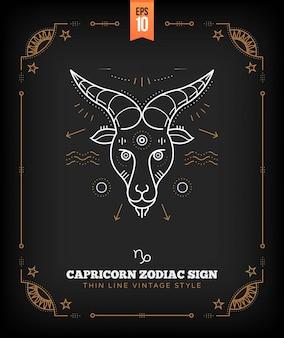 Vintage thin line capricorn zodiac sign label. retro astrological symbol, mystic, sacred geometry element, emblem, logo. stroke outline illustration.