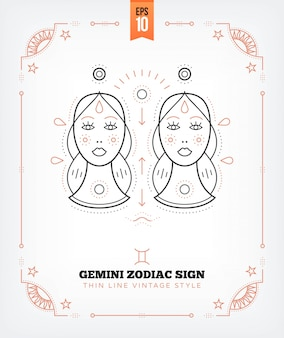 Vintage thin line gemini zodiac sign label. retro astrological symbol, mystic, sacred geometry element, emblem, logo. stroke outline illustration. isolated on white background.