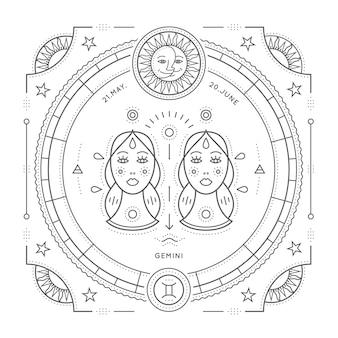 Винтаж тонкая линия лейбл знак зодиака близнецы. ретро астрологический символ, мистик, элемент сакральной геометрии, эмблема, логотип. инсульт наброски иллюстрации. на белом фоне.