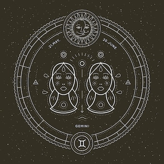 Vintage thin line gemini zodiac sign label. retro vector astrological symbol, mystic, sacred geometry element, emblem, logo. stroke outline illustration.