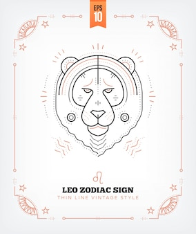 Vintage thin line leo zodiac sign label. retro astrological symbol, mystic, sacred geometry element, emblem, logo. stroke outline illustration. isolated on white