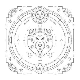 Винтаж тонкая линия знак зодиака лев этикетка. ретро астрологический символ, мистик, элемент сакральной геометрии, эмблема, логотип. инсульт наброски иллюстрации. на белом фоне.