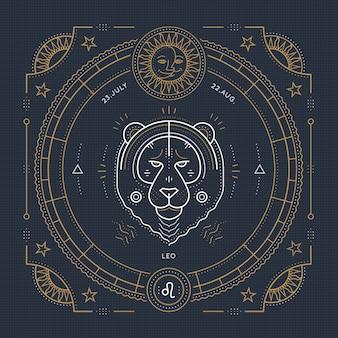 빈티지 얇은 라인 레오 조디악 로그인 레이블. 레트로 점성술 기호, 신비주의, 신성한 기하학 요소, 상징, 로고. 스트로크 개요 그림.