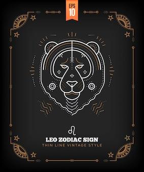 Vintage thin line leo zodiac sign label. retro astrological symbol, mystic, sacred geometry element, emblem, logo. stroke outline illustration.