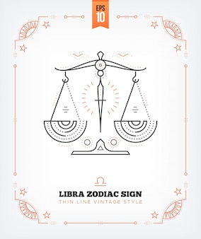 Vintage thin line libra zodiac sign label. retro astrological symbol, mystic, sacred geometry element, emblem, logo. stroke outline illustration. isolated on white