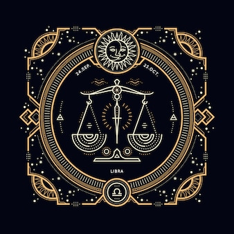빈티지 얇은 라인 천칭 자리 조디악 로그인 레이블입니다. 레트로 점성술 기호, 신비주의, 신성한 기하학 요소, 상징, 로고. 스트로크 개요 그림.