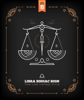빈티지 선 천칭 자리 조디악 로그인 레이블입니다. 레트로 점성술 기호, 신비, 신성한 기하학 요소, 상징, 로고. 스트로크 개요 그림입니다.