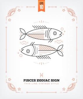 Урожай тонкая линия рыбы знак зодиака этикетка. ретро астрологический символ, мистик, элемент сакральной геометрии, эмблема, логотип. инсульт наброски иллюстрации. изолированные на белом