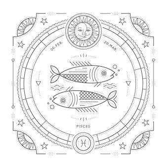 ビンテージの細い線うお座星座記号ラベル。レトロな占星術のシンボル、神秘的な神聖な幾何学要素、エンブレム、ロゴ。ストロークの概要図。白い背景の上。