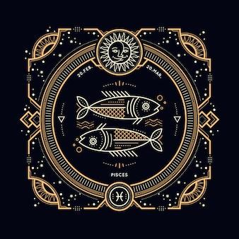 빈티지 얇은 라인 물고기 자리 조디악 로그인 레이블. 레트로 점성술 기호, 신비주의, 신성한 기하학 요소, 상징, 로고. 스트로크 개요 그림.