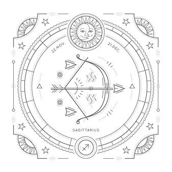 Винтаж тонкая линия этикетка знак зодиака стрелец. ретро астрологический символ, мистик, элемент сакральной геометрии, эмблема, логотип. инсульт наброски иллюстрации. на белом фоне.