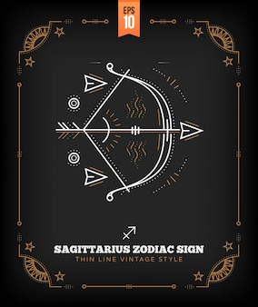 Vintage thin line sagittarius zodiac sign label. retro astrological symbol, mystic, sacred geometry element, emblem, logo. stroke outline illustration.